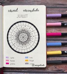 Creative Trackers: Beautiful Mood Mandala Tracker for your Bullet Journal. Bujo tracker. Planner ideas. Journal art. Love this mandala idea! #bulletjournaling #bujotracker
