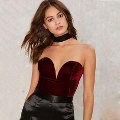 617a9ee68cf Solid Color Velvet Strapless Backless Bodysuit
