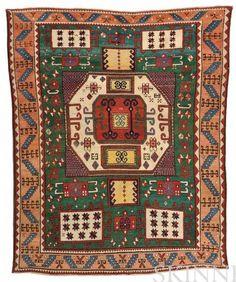 Karachov Kazak Rug, Southwest Caucasus, mid-19th century, 224 cm x 178 cm. Estimate $10,000-12,000