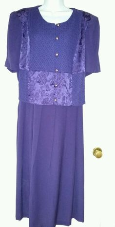 2-Piece Illusion-Deep Purple Lady Dorby Dress-Gorgeous! Size 24 #LadyDorby #CocktailUS $33.99