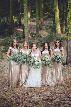 Gorgeous rose gold sequined #bridesmaids #dresses. Such a cute #wedding look!