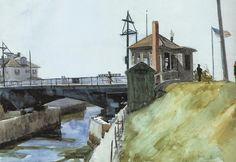 Blynman Bridge, Blynman Canal, Gloucester, MA, 1923, Edward Hopper