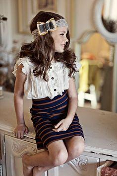 kids fashion, girls fashion, bow, hair, skirt, stripes, blouse, fashion