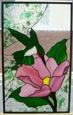 Stained Glass Hummingbird and Flower Panel Window: