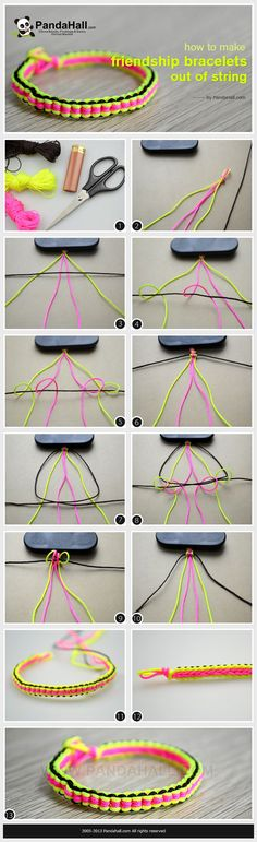 Step-by-step instructions for a traditional knot pattern in your new friendship bracelet; furthermore, a detailed project presented as well for your reference on how to make friendship bracelets out of string.