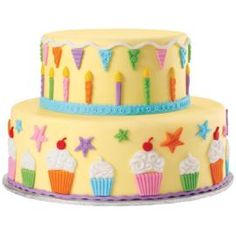 With the Fondant & Gum Paste Mold, Kids Party Designs, bold fondant colors shaped in candles, cupcakes, stars and banners gets the party started.