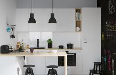 Ikea 'Metod' kitchen, two 'Hektar' ceiling lamps, two 'Dalfred' bar stools & 'Bekväm' stool