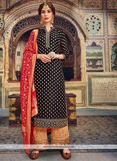Shop online for latest designer salwar kameez, wedding salwar kameez. Buy this banarasi silk and jacquard embroidered and resham work trendy palazzo salwar kameez festival, mehndi and party. Pakistani Salwar Kameez, Indian Salwar Kameez, Pakistani Suits, Kurti, Salwar Kameez Online Shopping, Salwar Suits Online, Palazzo Suit, Palazzo Style, Bridal Wardrobe
