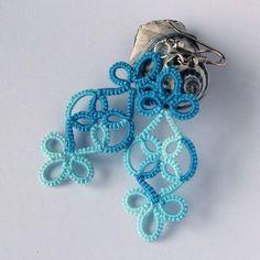 Handmade unique earrings - frivolite technique