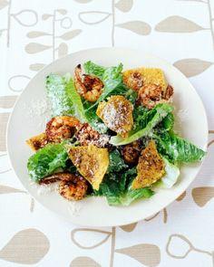 Caesar Salad with Spicy Shrimp
