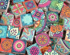 Ceramic Mosaic Tiles - Moroccan Boho Tile Medallions Mosaic Tile 36 Pieces Bright Colors - For Mosaic Art / Mixed Media Art/Jewelry Ceramic Mosaic Tile, Ceramic Painting, Mosaic Art, Mosaic Glass, Tile Mosaics, Design Textile, Design Floral, Moroccan Tiles, Moroccan Decor