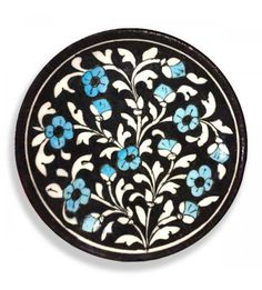 Blue Pottery With Decorative Plate- Black, White With Blue Flowers