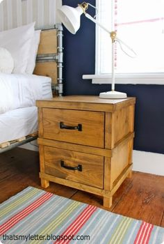 Masculine Camp Style Nightstand for a Boy's Room {Pottery Barn Kids Knock Off}
