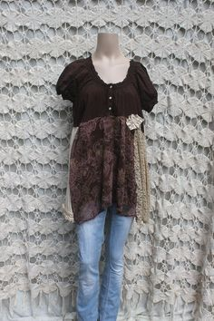 Women's Upcycled Boho Cotton Shirt Shabby Chic Brown (I really should think about refashioning my clothes instead of giving them away)