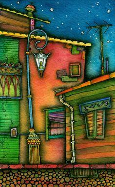 """Barrio de tango (imágenes de La Boca) Vladimir Merchensky Escenografía para la obra de teatro """"Divertitango"""" Políptico de 4 piezas Tintas y acuarela sobre papel de algodón 13,5 x 22,5 cm cada pieza Tango Art, Painted Letters, City Art, Bookbinding, Artsy Fartsy, Folk Art, Illustration, Street Art, Mosaic"""
