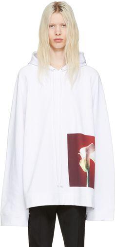 5e70122dd0d1c2 Raf Simons - White Robert Mapplethorpe Edition Oversized Calla Lily Hoodie  Raf Simons Clothing