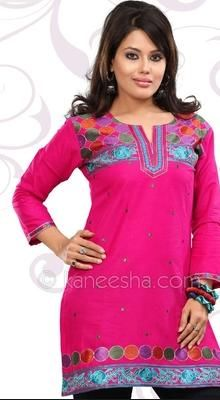 Rani Pink Cambric Cotton Embroidered Tunic