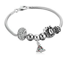 Sterling Silver Holiday Bead Set Snake Charm Bracelet, 7.5' * Read more reviews of the product by visiting the link on the image.