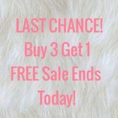 LAST CHANCE! Buy 3 Get 1 FREE Headbands &Clip Ins! Bows for sale!                                                                         • Clip in bows: 4 for $8, 6 for $10, 8 for $12, 10 for 14, etc.!                                                                                           • Headbands: $6 each! Buy 3 get 1 FREE sale, or, buy 4+ headbands get 2 FREE clip in bows April 1st - 8th!                                                                                          • Check…