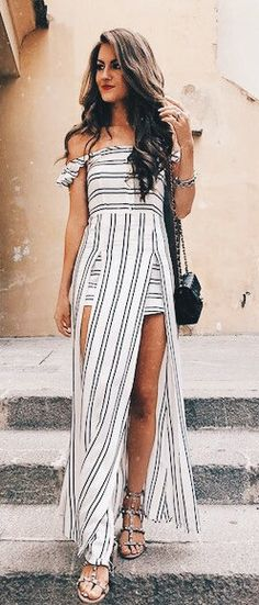 summer outfits White Striped Off The Shoulder Maxi Dress + Studded Sandals