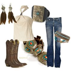 Boots by dixi3chik on Polyvore featuring Ralph Lauren, Zad, Chan Luu, Ettika, halter tops, turquoise jewelry, feather earrings, cowboy boots, western and suede tops