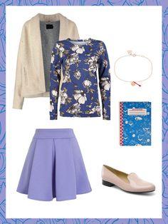 What to wear to work: das perfekte Büro-Outfit. Heute mit fliederfarbenen Tellerrock und Shirt mit Blumenprint.