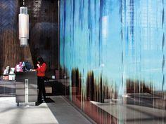 Custom printed glass feature wall for Atrium Restaurant, Perth