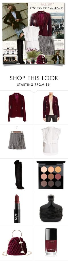 """The Velvet Blazer..."" by nannerl27forever ❤ liked on Polyvore featuring Al Duca d'Aosta, Aqua, WithChic, Helmut Lang, Balmain, MAC Cosmetics, NYX, John Varvatos, Barneys New York and CLUSE"