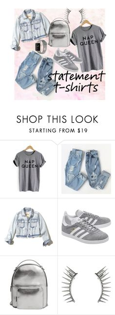"""""""Nap queen"""" by onetwothee ❤ liked on Polyvore featuring Hollister Co., adidas Originals, MANGO, Latelita, casualoutfit, grey and statementtshirt"""