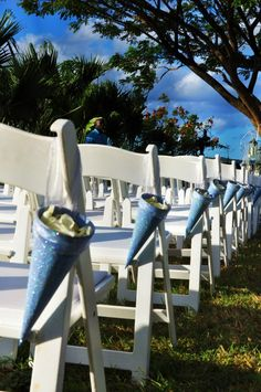 winter theme wedding, snowy blue glittered cones with white petals. www.facebook.com/emmacorriedesigns