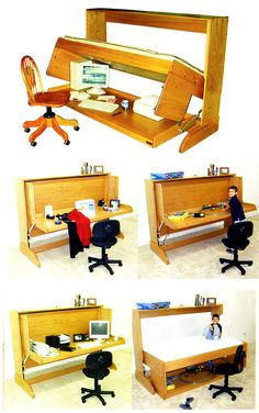 Desk to Bed convertible. Our kid is going to get one of these. Murphy Beds, Garage House, Garage Ideas, Our Kids, Get One, Space Saving, Convertible, House Ideas, Loft