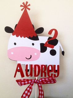 Cow Cake Topper with Party Hat, Farm Birthday, Barnyard Party