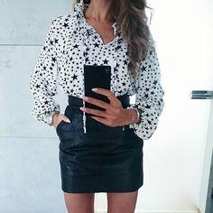 WEBSTA @ tojajoanna - #blackandwhite#love#shirt#blackandwhiteoutfit#leatherskirt#miniskirt#stars#silverjewelry#michaelkors#instagirl#eveningoutfit#stylegirl#fasion#modeblogger#look#girlfashion#polishgirl#mystyle#instafashionista#fashionblogger#detalis#skirt#vintage#