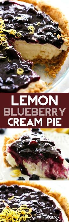 *USE THIS BLUEBERRY SAUCE* Lemon Blueberry Cream Pie. A delicious and fresh lemon cream pie in a homemade graham cracker crust and topped with the most delicious homemade blueberry sauce. This is a perfect summertime treat! 13 Desserts, Lemon Desserts, Lemon Recipes, Delicious Desserts, Dessert Recipes, Yummy Food, Pie Recipes, Recipes Dinner, Vegemite Recipes