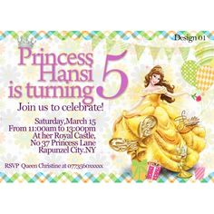 Personalised Party Invitations, Birthday Party Invitations, Birthday Parties, Invites, Disney Princess Belle, Graphic Design Studios, Rsvp, Stationery, Fancy