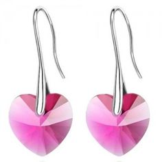 Peach Heart Style Austrian Crystal Dangling Earrings - Rose