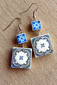 Portugal Antique Azulejo Tile Replica Earrings from by Atrio, $17.00