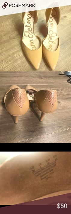 Sam Edelman Nude Heels — Never worn— sz 7 Opal style, patent nude with gold/bronze soles. Never worn, as they were purchased a half size too small because the larger size slipped at the heel— alas, these  would kill my feet and I never bothered to return them! Sam Edelman Shoes Heels