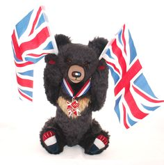 My 2012 Taiwan Bear Olympic Challenge entry:  Sebastian the Moon Bear cheering on Team GB