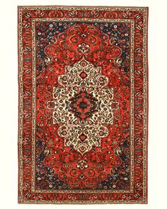 EORC X34724 Rust Hand Knotted Wool Bakhtiar Rug , 6'7 x 9'10