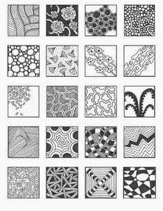 Zentangle, rustgevend tekenen: Zentangle, voorbeelden patronen 1