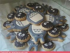 Totoro and the dust bunnies, making these for my sister for her bday.. she loves totoro
