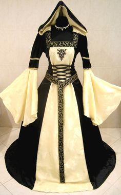 MEDIEVAL WEDDING DRESS GOTHIC S-M 10-12-14 VICTORIAN RENAISSANCE LARP WICCA ROBE