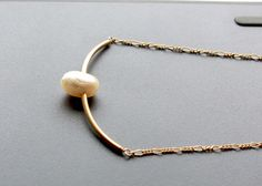 Pearl Necklace gold filled choker necklace. Short by EverywhereUR