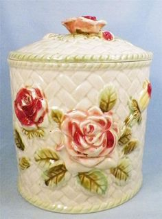 Vintage Pink Roses Cookie Jar Cracker Biscuit Made Japan Basketweave Pottery VG....this is so close to what I have, the one I have was inherited from my Grandma!!