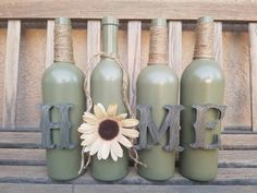 Home wine bottle set. Home decor. Rustic decor. Table decor. Mantel decor. Painted wine bottles. Decorated wine bottles. Wine bottle. by WineCraftCreations on Etsy https://www.etsy.com/listing/468048332/home-wine-bottle-set-home-decor-rustic