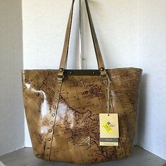 Patricia Nash Benvenuto Map Signature Leather XL Tote Bag for sale online Large Leather Tote Bag, Patricia Nash, Purse Strap, Wristlet Wallet, Embossed Logo, Italian Leather, Purses And Handbags, Tan Leather, Michael Kors Jet Set