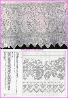 MIRIA CROCHÊS E PINTURAS: BARRADOS DE CROCHÊ DE FILÉ COM ROSAS N° 706