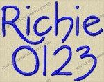 Richie Embroidery Font by 8Clawsandapaw.com