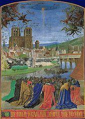 """View of medieval Paris in """"La Descente du Saint-Esprit"""" by Jean Fouquet Vintage Paris, Old Paris, Jean Fouquet, Saint Chapelle, Saint Esprit, Book Of Hours, Holy Ghost, Medieval Art, Medieval Times"""